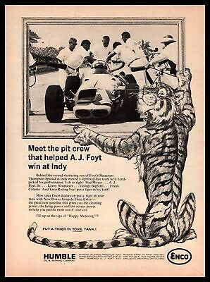 1964 Enco Tiger Gas A. J. Foyt Indy 500 Car Pit Crew Photo Humble Oil Print Ad