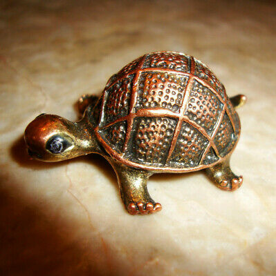 Adorable Unique Solid Copper Or Red Brass Lucky Turtle Asian Chinese Figurine