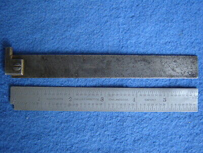 "STARRETT No. C304 FLEX RULE & No. 4 6"" STEEL RULE W/HOOK END ~MACHINIST TOOL LOT"