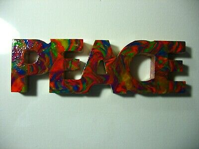 Original acrylic pour painting Peace sign multi color abstract