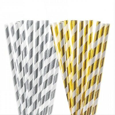 20 Pack Of Paper Straws, Premium Gold and Silver