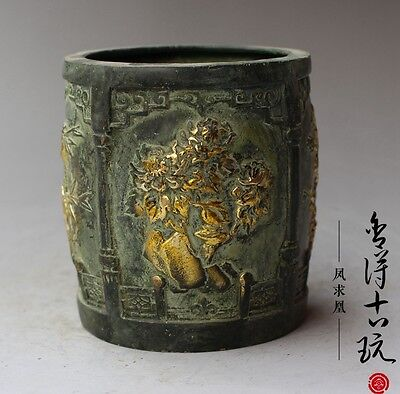 Old Chinese brass hand-carved Merlin bamboo chrysanthemum Pen container