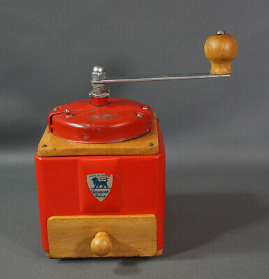 Antique French Peugeot Freres Coffee Grinder Mill Hand Crank Wood Red Metal