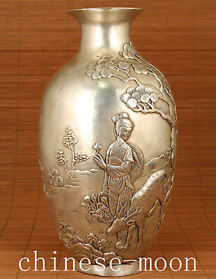 Big Chinese Old tibat silver  Hand Carved Belle Ox Statue valuable vase