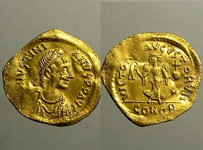 JUSTINIAN I GOLD TREMISSIS________Constantinople Mint_______ADVANCING VICTORY