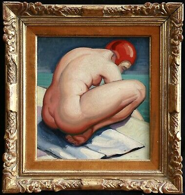 1940's FRENCH OIL ON BOARD - BATHER IN RED CAP BY SWIMMING POOL - UNUSUAL WORK
