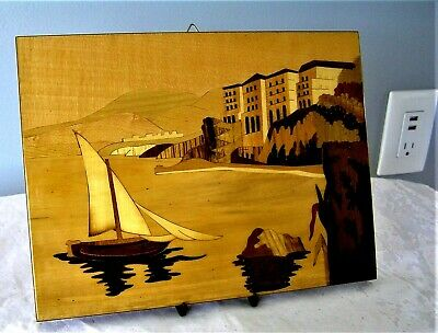Vtg Italian SORRENTO INLAID Wooden Marquetry Wall Plaque PRISTINE MINT CONDITION