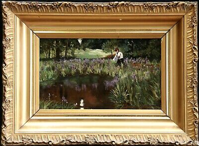 19th CENTURY FRENCH IMPRESSIONIST OIL CANVAS - WOMAN GATHERING IRISES BY RIVER