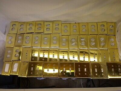 (45) SOLID BRASS Outlet WALL PLATES 26 double 10 single light 5 double light etc