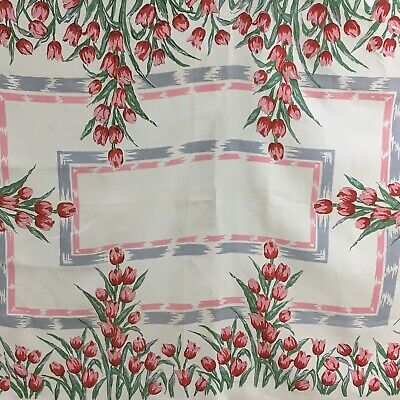 True Vintage 1950s 60s Table Cloth Red Pink Grey Tulips Floral Linen