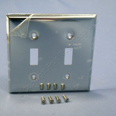 Leviton 2G Chrome-Plated Steel Toggle Switch Wall Plate Cover Switchplate 1909