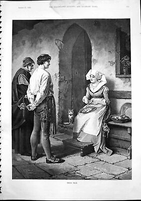 Old Antique Print Small Talk Nun Cutting Apples Speaking Two Men Cat 1892 19th
