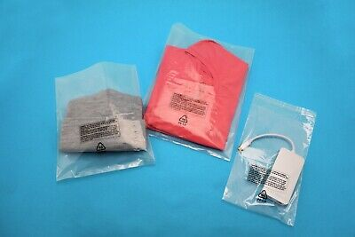 Poly Bags Resealable Suffocation Warning Clear Lip & Tape 1.5 mil Shirt Apparel