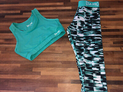 USA Pro Girls Active Gym Wear Leggings And Crop Top Age 9/10 Excellent Condition