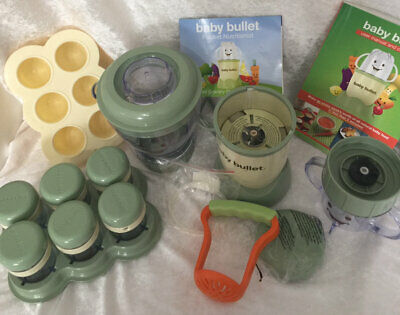 Magic Baby Bullet Complete Food Blender Processor System Green W/ Cookbook