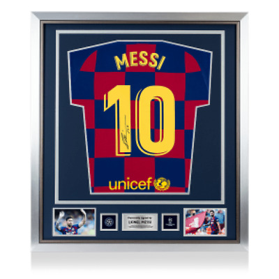 Lionel Messi Official UEFA Champions League Signed and Framed Barcelona Shirt