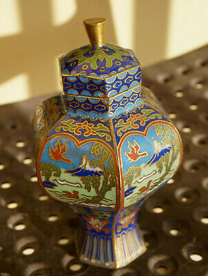 Chinese Antique Gold-plate&Enamel Tea Caddy Humidor Jar THE Scenery Box w/Cranes