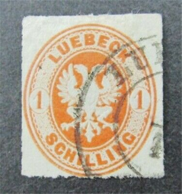nystamps German States Lubeck Stamp # 9 Used $160
