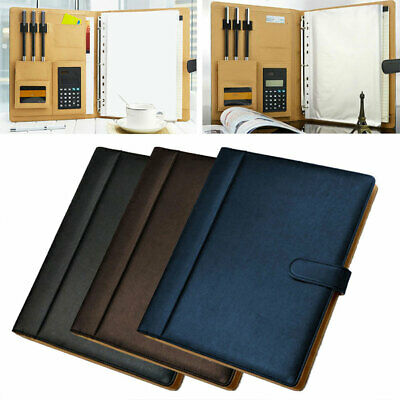 A4 Leather Business Portfolio Document Bag PORTABLE Conference Document Manager