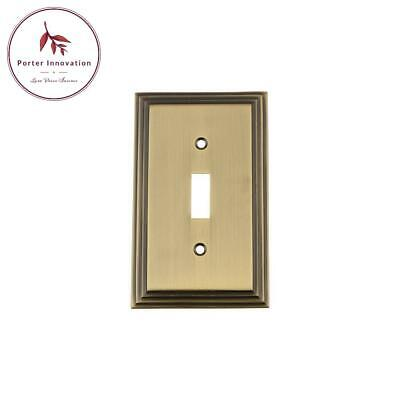 Deco Switch Plate With Single Toggle In Antique Brass