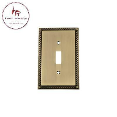 Rope Switch Plate With Single Toggle In Antique Brass
