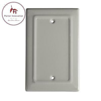 Architectural Metal Blank Wall Plate/Switch Plate, Dove Gray