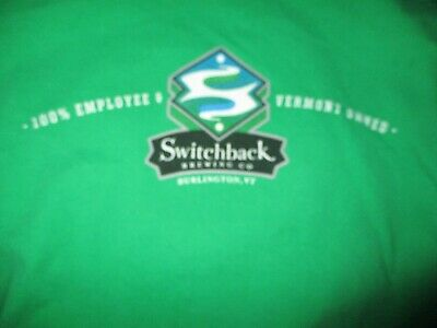 Green SWITCHBACK BREWING CO. Logo Long Sleeve Shirt XL 100% Cotton Vermont BEER