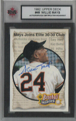 1992 Willie Mays Autographed Baseball Card With COA.