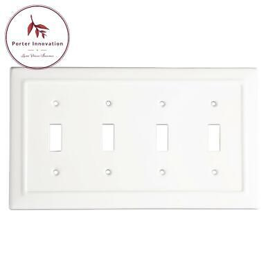 Architectural Metal Quad Switch Wall Plate/Switch Plate, Classic White