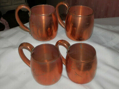 Vintage Old WEST BEND Moscow Mule Mugs-Set 4 SOLID Copper Cups-Tarnished Patina