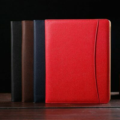 A4 Leather Business Portfolio Document Bag MULTIFUNCTIONAL Padfolio File Manager