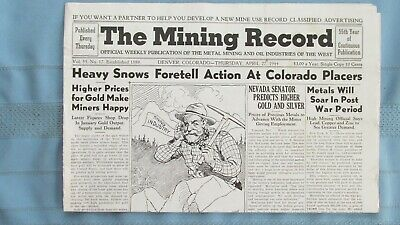 1944 Mining Record-Colorado Gold Placer Mining-Rico & Telluride Colorado Mines