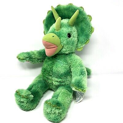 "BABW Build a Bear Workshop Green Dinosaur Triceratops Stuffed Plush Toy 18"" AC"