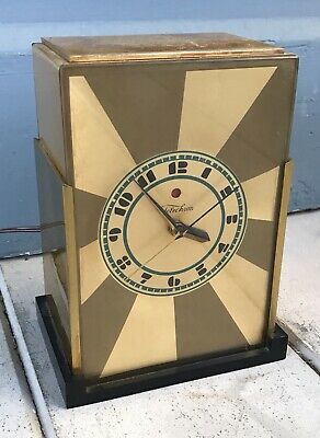 Antique Vintage 1929 Paul Frankl Art Deco Modernique Telechron Mantel Clock