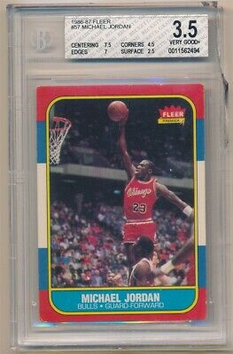 Michael Jordan 1986/87 Fleer #57 Rc Rookie Card Chicago Bulls Bgs 3.5 Vg+