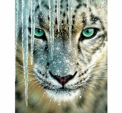 Tiger Snow Diamond Painting Beautiful White Color Embroidery Design Wall Display