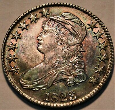 1823 Capped Bust Half Dollar High Grade Rainbow Toning Nice Type Coin Silver 50C