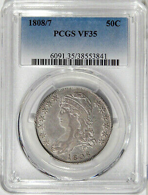 1808/7 50c PCGS VF 35 ~ EARLY CAPPED BUST HALF DOLLAR OVERDATE VARIETY
