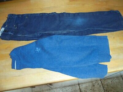 boys outfit jeans and jumper blue age 5 - 6 next marks and spencer vgc