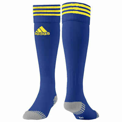 adidas 3 Stripe Football Rugby Socks Anatomical Cushioning Team Kit Yellow Blue