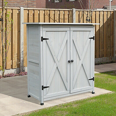 Fir Wood Large Garden Shed Outdoor Storage w/ Shelves Tool Storage