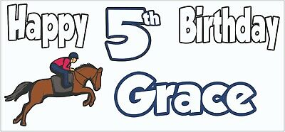 Personalised Horse Riding 5th Birthday Banner X2 Decorations Daughter Girls Boys