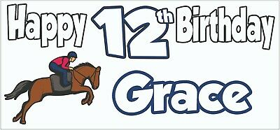 Personalised Horse Riding 12th Birthday Banner X2 Decoration Daughter Girls Boys