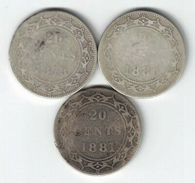 3 X Newfoundland 20 Cents Queen Victoria Sterling Silver Coins 1873 1880 1881