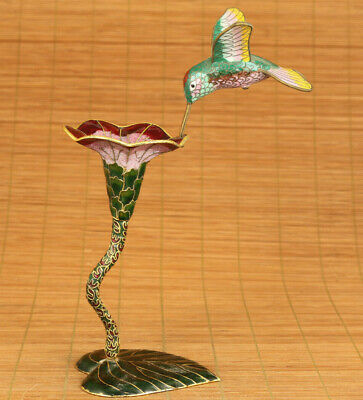 chinese old cloisonne hand painting petunia bird statue figure noble decoration