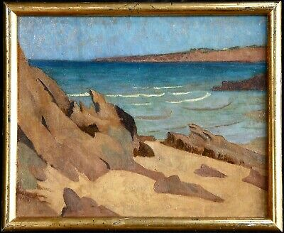 19th CENTURY FRENCH UNUSUAL OIL ON PAPER - NABIS SCHOOL - ROCKS ON THE BEACH