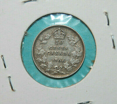 10 cents 1906 Canada King Edward VII small silver dime VG-XF coin