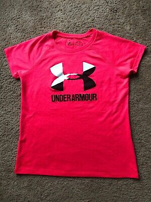 Girls Under Armour Tshirt Size M Loose Heat Gear Pink Spring Summer EUC