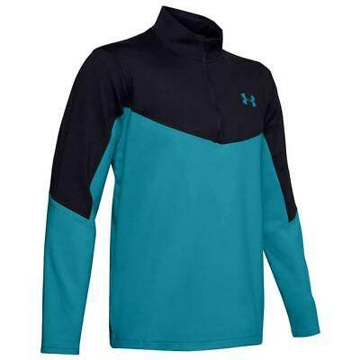Under Armour Golf Tormenta Midlayer 1/2 Cremallera Camiseta (Negro / Scape Blue