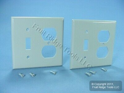 2 Leviton Gray 2-Gang Switch Receptacle Outlet Cover Wallplate Switchplate 87005